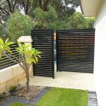 Aluminium Coloured Black Slat Fencing