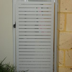 White Slat Swing Gate